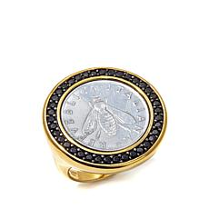 """Bellezza """"Bee"""" Lira Coin .87ctw Black Spinel Ring"""