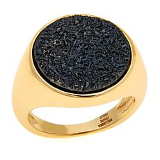 Bellezza Black Drusy Bronze Solitaire Ring