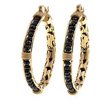 Bellezza Black Spinel Bronze Beaded Hoop Earrings