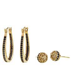 Bellezza Bronze Black Spinel Hoop and Stud Earrings Set