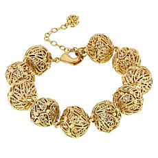 "Bellezza Bronze Filigree Bead 8"" Station Bracelet"