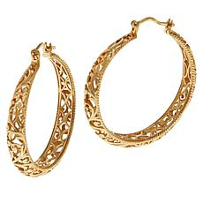 Bellezza Bronze Floral Filigree Tapered Hoop Earrings