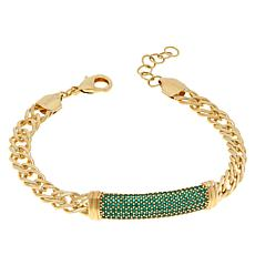 Bellezza Bronze Green CZ Pavé Station Link Bracelet