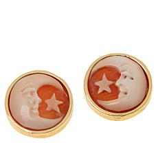 Bellezza Bronze Moon and Star Cameo Earrings