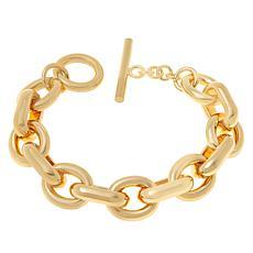 """Bellezza Bronze Polished Oval-Link 8-3/4"""" Toggle Bracelet"""
