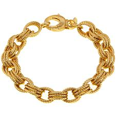 "Bellezza Bronze Ribbed Triple Oval Rolo-Link 8-1/4"" Toggle Bracelet"
