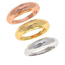 Bellezza Bronze Tri-Color Hammered Stack Ring 3-piece Set