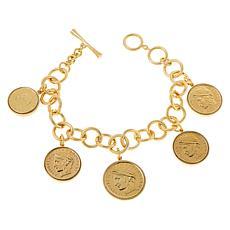 "Bellezza Multi Lira Coin Bronze 7-1/2"" Chain-Link Charm Bracelet"