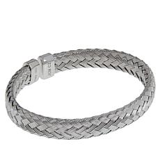 Bellezza Sterling Silver Braided Single-Row Cuff Bracelet