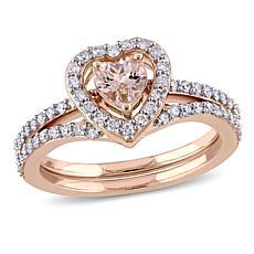 Bellini 10K Gold Morganite and Diamond Heart-Design 2-piece Ring Set