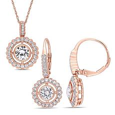 Bellini 10K Rose Gold Created White Sapphire Halo Pendant and Earrings