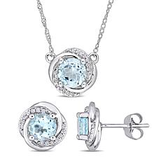 Bellini 10K White Gold Sky Blue Topaz & Diamond Swirl Jewelry Set