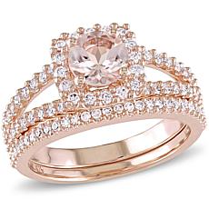 Bellini 1.33ctw Pink Morganite and Diamond Bridal Ring Set