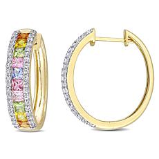 Bellini 14K Gold Multi-Color Sapphire Hoop Earrings
