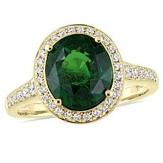 Bellini  14K Gold Tsavorite and Diamond Halo Cocktail Ring