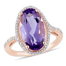 Bellini 14K Rose Gold Amethyst and Diamond Halo Ring