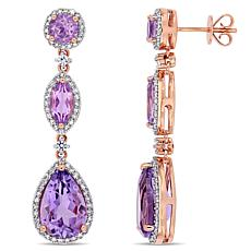 Bellini 14K Rose Gold Amethyst and Multi-Gem Geometric Dangle Earrings
