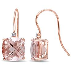 Bellini  14K Rose Gold Morganite and Diamond Accent Hook Drop Earrings