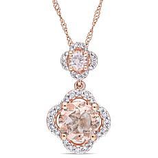 Bellini 14K Rose Gold Morganite and Diamond Double Drop Pendant