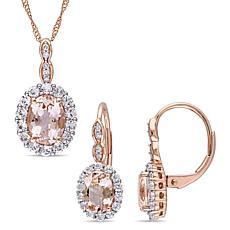 Bellini 14K Rose Gold Morganite, Topaz & Diamond Pendant and Earrings