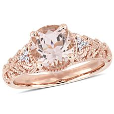 Bellini 14K Rose Gold Pink Morganite and Diamond Vintage Style Ring