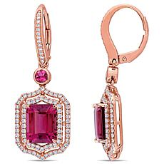 Bellini 14K Rose Gold Pink Tourmaline Diamond-Accented Dangle Earrings