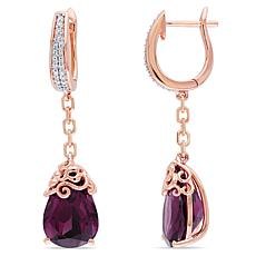 Bellini  14K Rose Gold Rhodolite and Diamond Filigree Drop Earrings