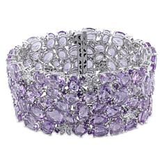 Bellini 14K White Gold Amethyst and Rose de France & Diamond Bracelet