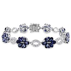 Bellini 14K White Gold Blue Sapphire Diamond-Accented Floral Bracelet