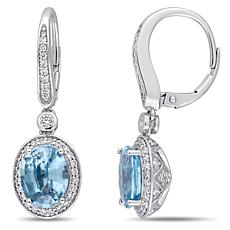 Bellini  14K White Gold Blue Zircon and Diamond Dangle Earrings