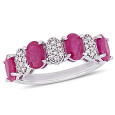 Bellini 14K White Gold Diamond and Ruby Semi-Eternity Band Ring