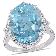 Bellini 14K White Gold Diamond, Sky Blue Topaz and White Sapphire