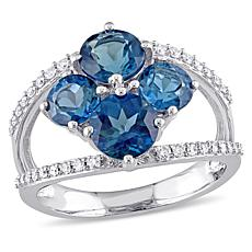 Bellini 14K White Gold London Blue Topaz and Diamond Ring