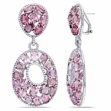 Bellini  14K White Gold Pink Tourmaline and Diamond Dangle Earrings