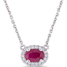 Bellini 14K White Gold Ruby and Diamond Ruby Halo Necklace