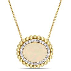 Bellini 14K Yellow Gold Diamond and Ethiopian Opal Necklace
