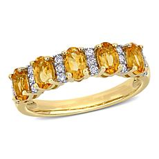 Bellini 14K Yellow Gold Oval Citrine and Diamond Semi-Eternity Ring