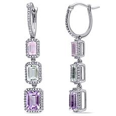 Bellini  Amethyst, Rose Quartz, Rose de France Diamond-Accent Earrings