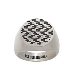 Ben Sherman Men's Geometric Enamel Design Stainless Steel Signet Ring