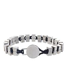 Ben Sherman Men's Stainless Steel Cube Cord Bracelet