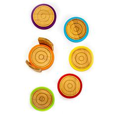 BergHOFF Bamboo 6-piece Multi-Color Coaster Set with Silicone Rims