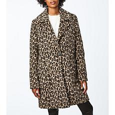 Bernardo Leopard Print Wool Coat