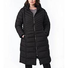 Bernardo Plus-Size EcoPlume Maxi Coat with Snap Vent