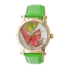Bertha Isabella Mother-of-Pearl Leather Strap Watch