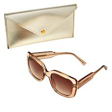 Bethenny Oversized Square Sunglasses with Case and Cleaning Cloth