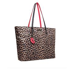 Betsey Johnson Leopard-Print Tote with Keychain