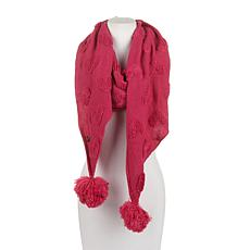 Betsey Johnson Open Your Heart Muffler with Pompoms