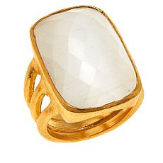 Betty Carré Rectangular Stone Goldtone Large Ring