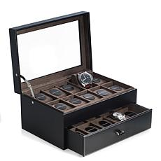 Bey-Berk Black Pebbled Leather 20 Watch Case