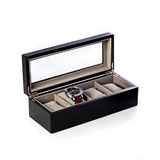 Bey-Berk Matte Black Wood 4-Slot Watch Box